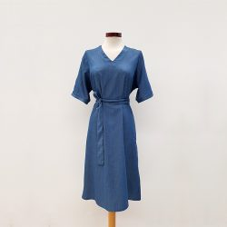 Vestido kimono algodón azul puntos
