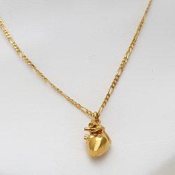 Colgante corazón grande plata bañada en oro