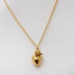 Colgante de Porca Miseria corazón pequeño plata bañada en oro