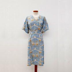 Vestido kimono viscosa pájaros azul claro