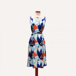 Vestido tirantes satén hojas azul naranja