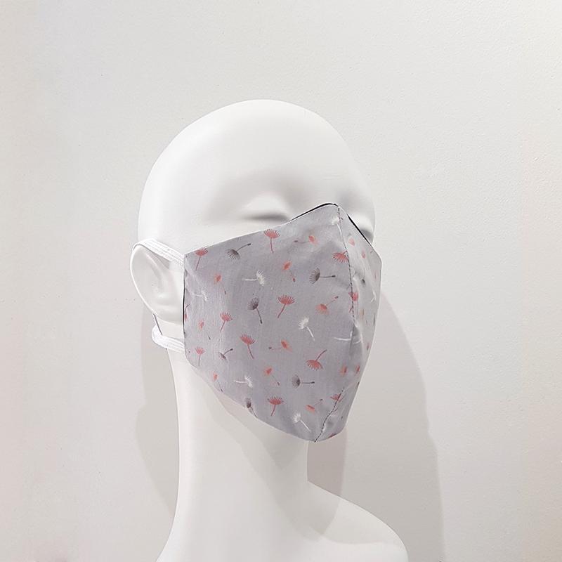 Mascarilla reutilizable algodón gris claro esporas