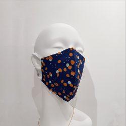 Mascarilla algodón azul motas