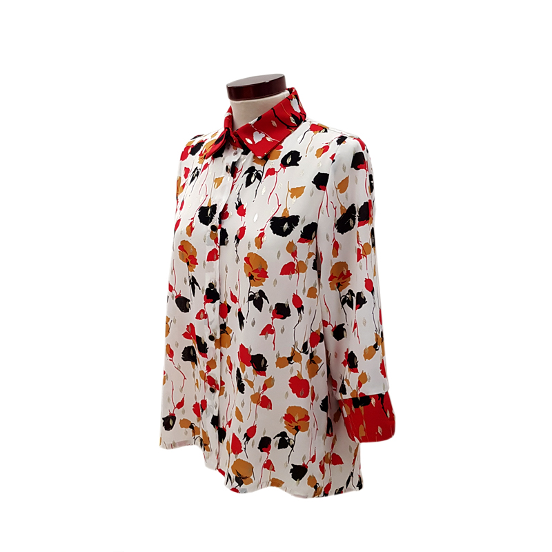 Camisa pliegue flores blanco y rojo