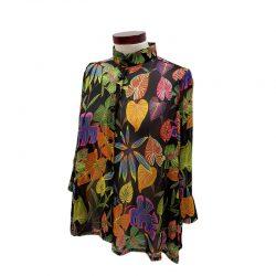 Camisa capa gasa negra hojas