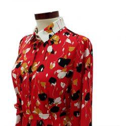 Vestido camisero pliegue flores rojo y blanco