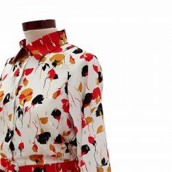 Vestido camisero frunce flores rojo y blanco
