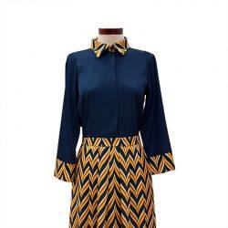 Vestido camisero frunce zig zag azul petróleo