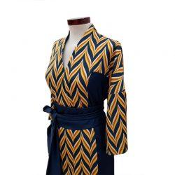 Vestido recto obi zig zag azul petróleo