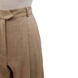 Pantalón pinzas lana camel claro