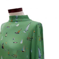 Blusa cuello lazada barcos verde