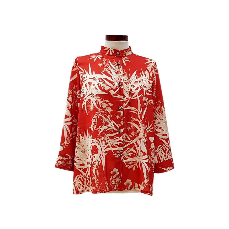 Camisa recta satén rojo flores crema