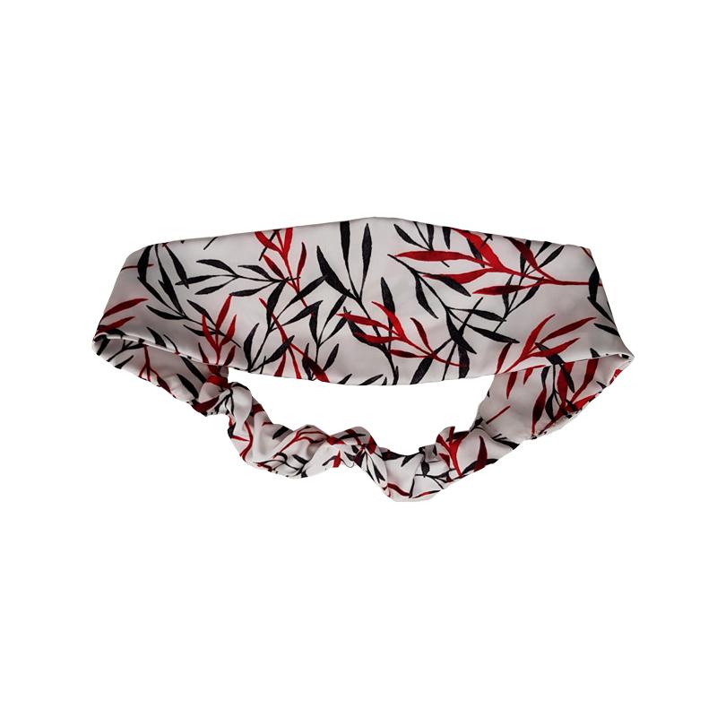 Diadema elástica satén blanco hojas negro y rojo
