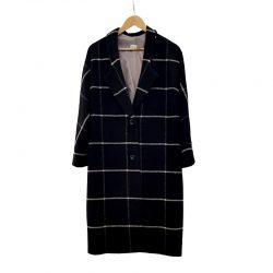 Abrigo solapa lana negra cuadros