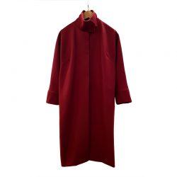 Abrigo cuello alto lana burdeos
