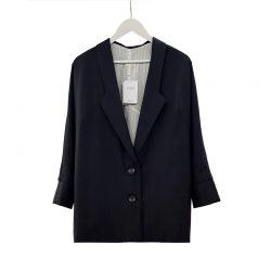 Blazer solapa lana gris azulado cuadros