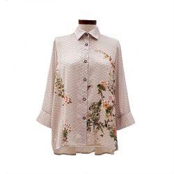 Camisa pliegue satén ondas con flores y pájaros
