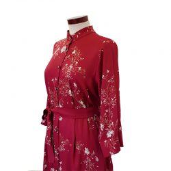 Vestido capa camisero viscosa granate flores