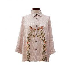 Camisa recta ondas japonesas con estampado de flores y pájaros