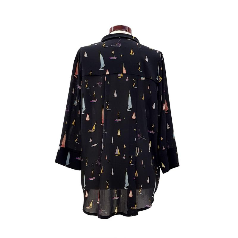 Camisa cuello con solapa barcos negro