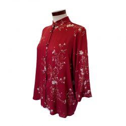 Camisa recta viscosa granate flores