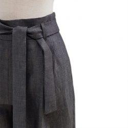 Pantalón pinzas cinturón alpaca jaspeado azul