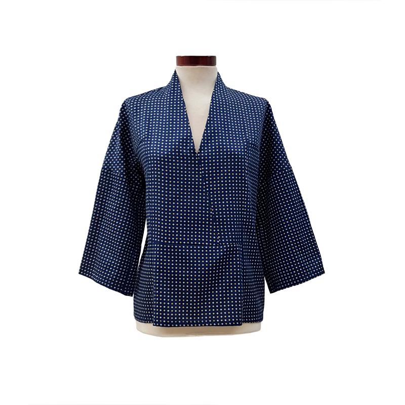 Khoa-blusa-kimono-algodón-azul-frontal