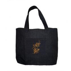 Bolso algodón bolsillo bordado flor dorada