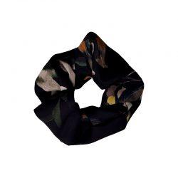 Coletero elástico crepe negro flores
