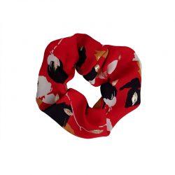 Coletero elástico crepe rojo flores