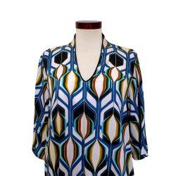 Blusa cuello pico viscosa dibujo geométrico