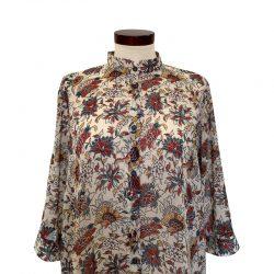Camisa recta gasa flores azul y teja