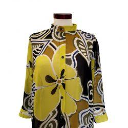 Camisa recta gasa flores amarillas
