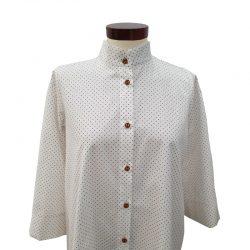 Camisa cuello mao algodón blanco motas