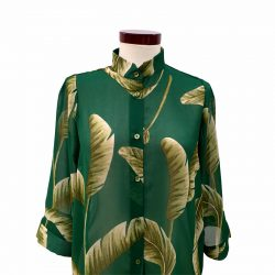 Camisa recta gasa verde hojas