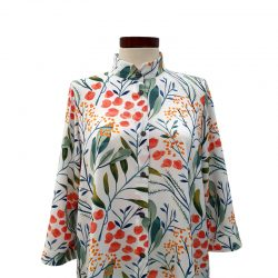 Camisa recta viscosa blanca hojas colores