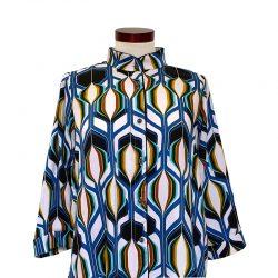 Camisa recta viscosa dibujo geométrico