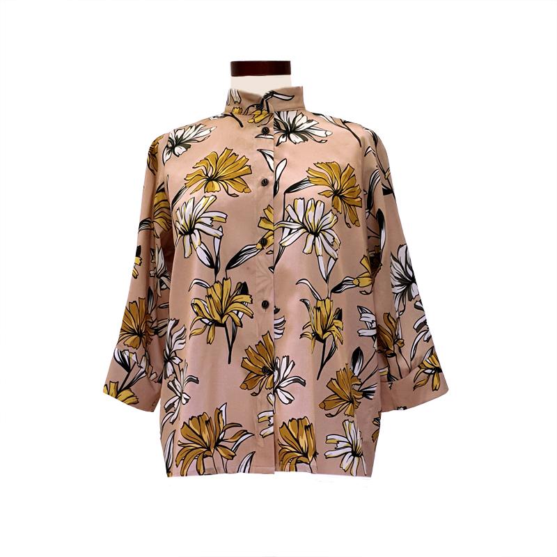 Camisa recta viscosa rosa margaritas