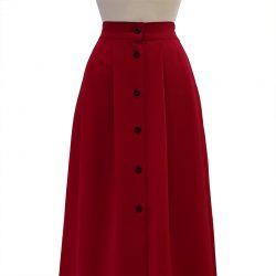 Falda con botones crepe roja
