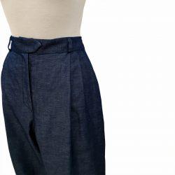 Pantalón pinzas lino azul índigo