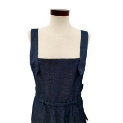 Peto de pantalón lino azul índigo