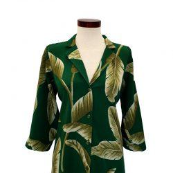 Vestido capa cuello solapa verde hojas