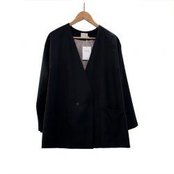 Blazer cruzado lana fría negra