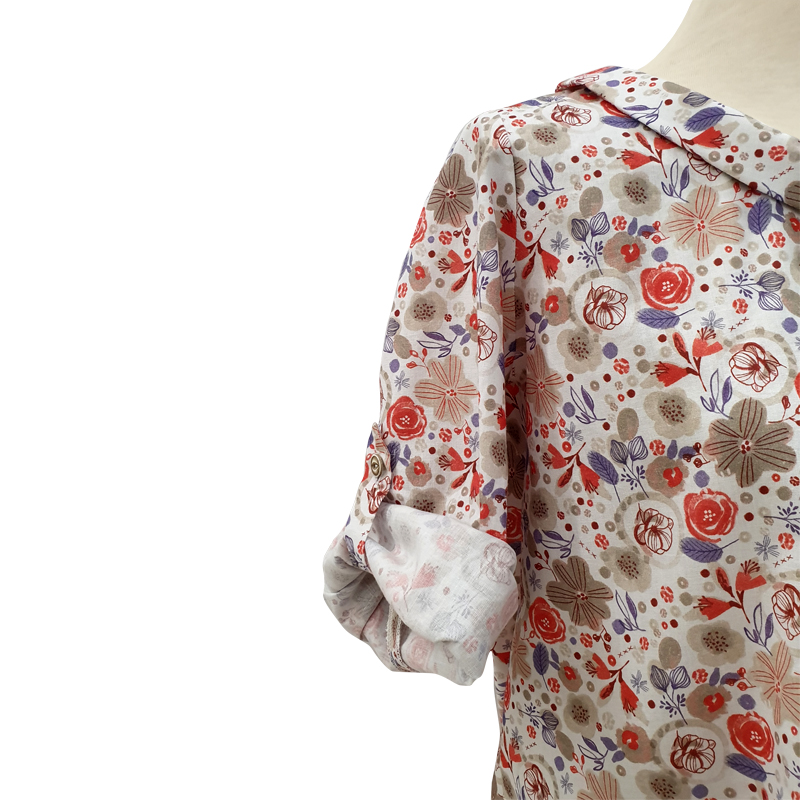Blusa cuello algodón flores coral