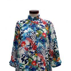 Camisa capa viscosa blanca flores azules