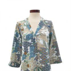 Camisa cuello solapa algodón estampado japonés