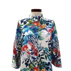 Camisa recta viscosa blanca flores azules