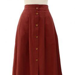 Falda con botones algodón teja