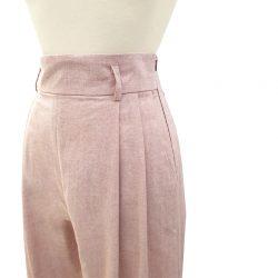 Pantalón pinzas algodón chambray rosado