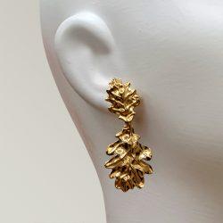 pendientes hojas latón bañado en oro